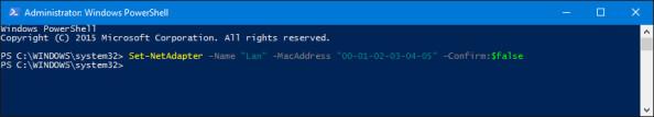 Zmiana adresu MAC poleceniem PowerShell wsystemie Windows 10.