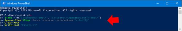 Usuwanie zawartości folderów TEMP poleceniem PowerShell.