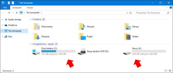 Wybór partycji, naktórejzostanie zapisany obraz systemu Windows 10.