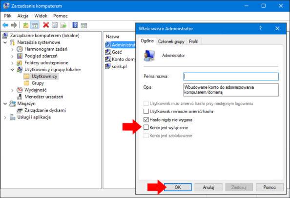 Włączenie konta administratora wsystemie Windows 10.