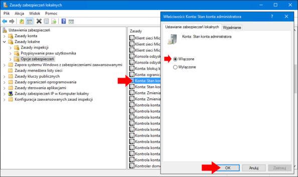 Aktywowanie konta Administratora wsystemie Windows 10 zapomocą Zasad zabezpieczeń lokalnych.