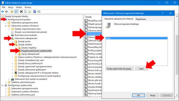 Włączenie możliwości logowania lokalnego dosystemu Windows 10 zapomocą konta Gościa.
