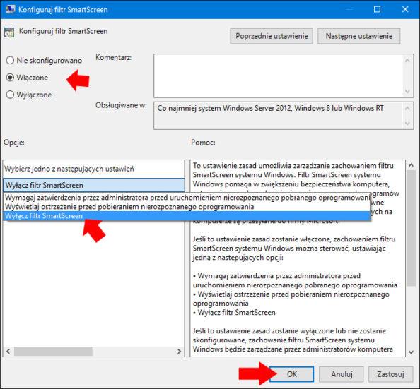 Wyłączamy filtr SmartScreen zapomocą edytora GPO.