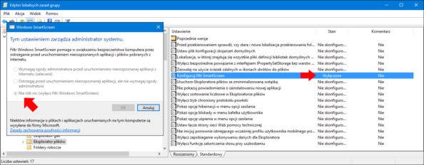 Wyłączenie filtru SmartScreen zapomocą edytora lokalnych zasad grup (GPO).