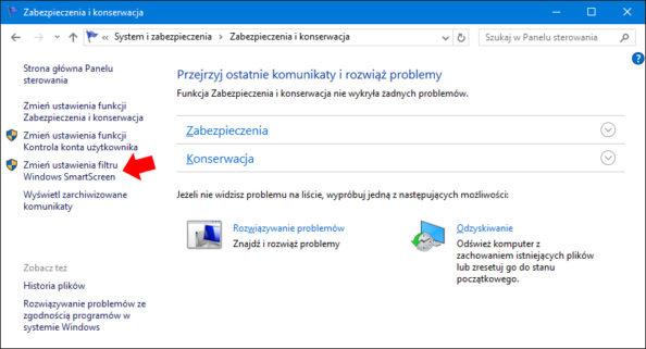 Zmieniamy ustawienia filtru Windows SmartScreen.