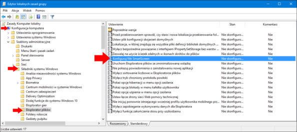 Wyłączenie filtru Windows SmartScreen zapomocą edytora lokalnych zasad grup.