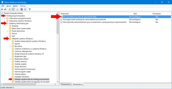 Włączenie opcji Niewyświetlaj przycisku doujawniania hasła zapomocą edytora gpo.