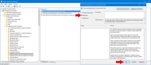 Ukrycie możliwości podglądu hasła naekranie logowania zapomocą edytora GPO.