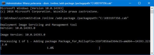 Rozpoczęcie procesu instalacji aktualizacji wsystemie Windows 10.