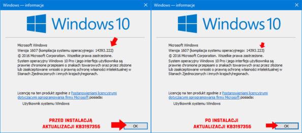 Podgląd numeru kompilacji systemu Windows 10.