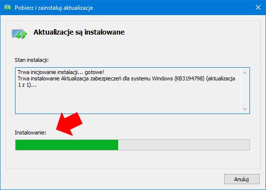 Podgląd procesu instalacji aktualizacji wsystemie Windows 10. zużyciem plika MSU.