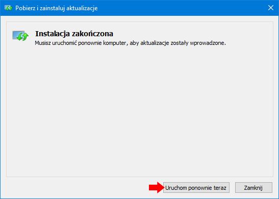 Zakończenie procesu instalacji aktualizacji wsystemie Windows 10.