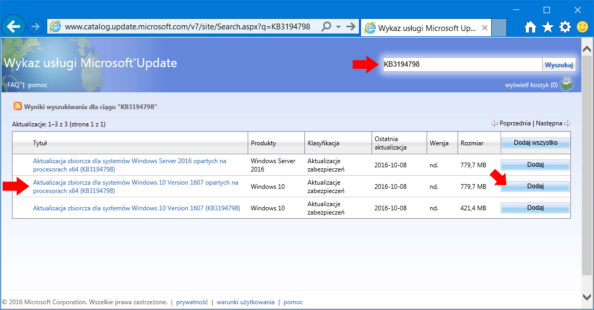 Pobieranie aktualizacji zwitryny Microsoft Update Catalog..