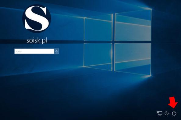 Ikona zasilania znajdująca się wprawym dolnym rogu ekranu logowania.