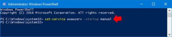 Ręczne uruchamianie usługi Windows Update.