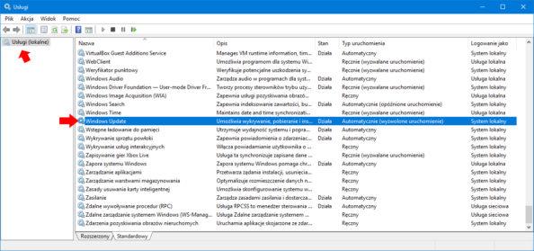 Widok usługi Windows Update.
