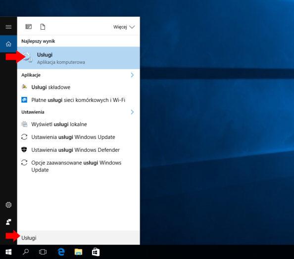 Wywołanie okna Usługi wsystemie Windows 10.