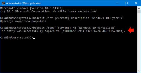 """Pomyślne wykonanie polecenia: bcdedit /copy {current} /d """"Windows 10 VirtualBox"""""""