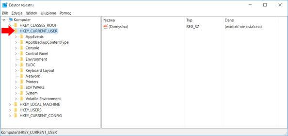 Widok okna edytora rejestru wsystemie Windows 10.