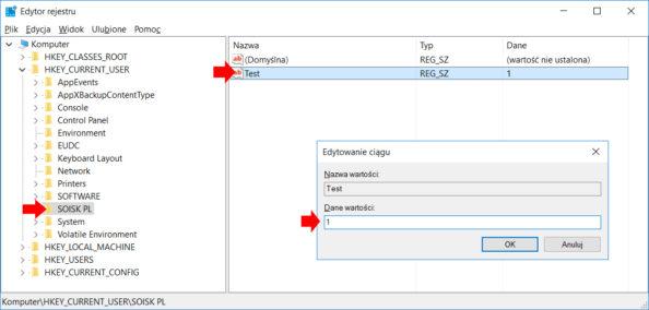 Tworzenie wedytorze rejestru nowej wartości ciągu.