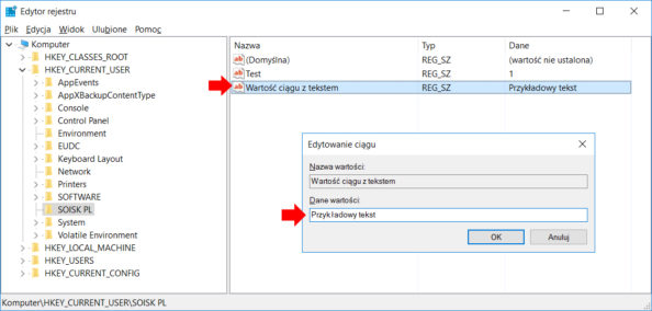 Tworzenie wrejestrze systemu Windows 10 przy użyciu polecenia PowerShell nowej wartości ciągu.