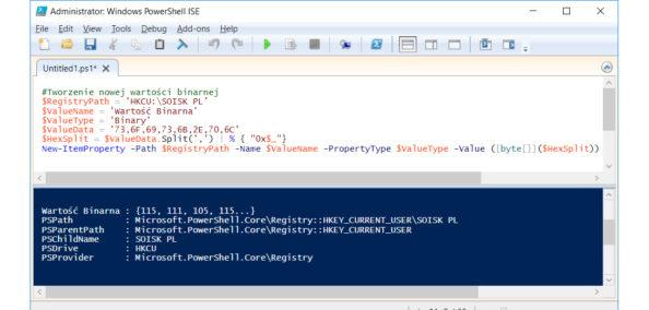 Tworzenie wrejestrze przy użyciu polecenia PowerShell nowej wartości binarnej.