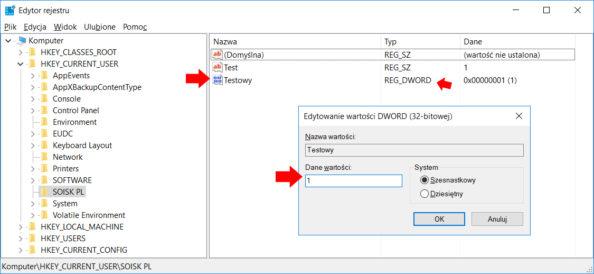 Tworzenie wrejestrze przy użyciu polecenia PowerShell nowej wartości DWORD.