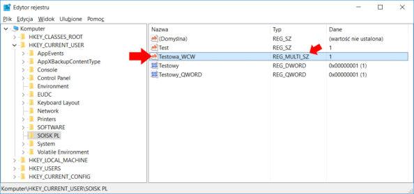 Tworzenie wrejestrze przy użyciu polecenia PowerShell nowej wartości ciągu wielokrotnego.