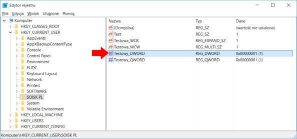 Zmiana poleceniem PowerShell wartości DWORD onazwie Testowy naTestowy_DWORD.