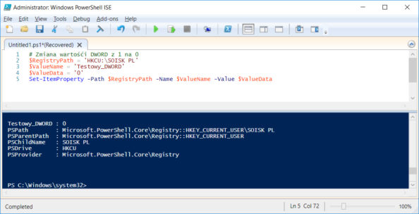 Zmiana poleceniem PowerShell danych wartości DWORD onazwie Testowy_DWORD z1 na0.