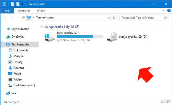 Podgląd usuniętych folderów widocznych wotwartym oknie Ten komputer.