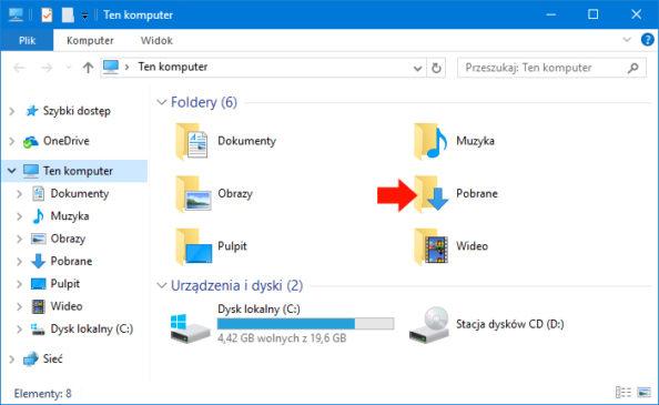 Folder Pobrane wotwartym oknie Ten komputer.