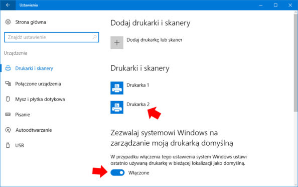 Zezwalaj systemowi Windows nazarządzanie moją drukarką domyślną