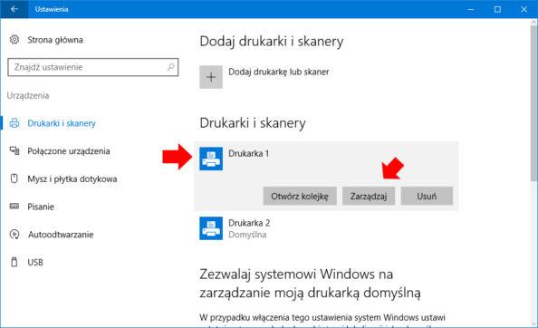 Ręczny wybór drukarki domyślnej wsystemie Windows 10.