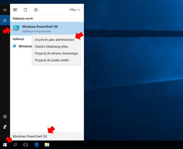 Wywołanie aplikacji Windows PowerShell ISE wsystemie Windows 10.