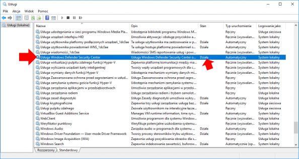 Widok działającej wsystemie Windows 10 usługi Windows Defender Security Center