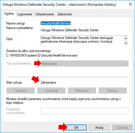 Widok wyłączonej usługi Windows Defender Security Center.
