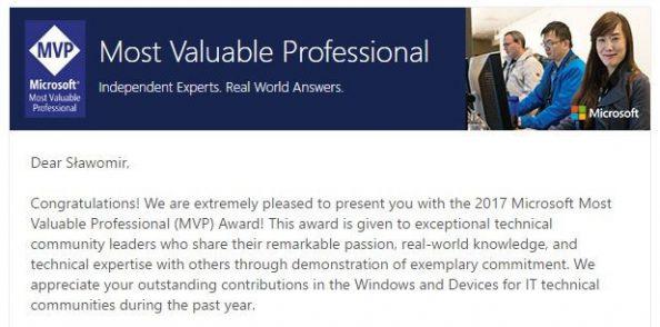 Treść maila informującego oprzyznaniu tytułu MVP (Microsoft Most Valuable Professionals)`