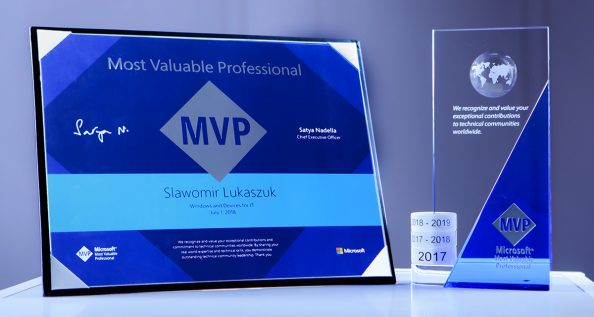 Tytuł Microsoft Most Valuable Professional (MVP) – Windows and Devices for IT .