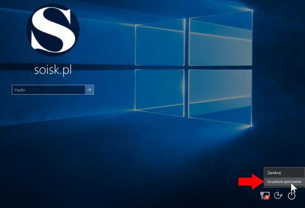 Trzymając wciśnięty klawisz SHIFT uruchom ponownie komputer.