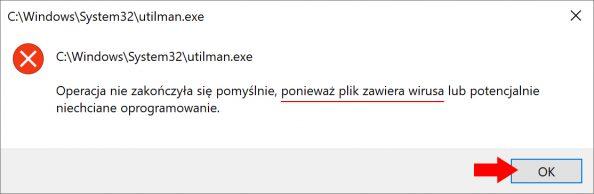 Zablokowany plik utilman.exe
