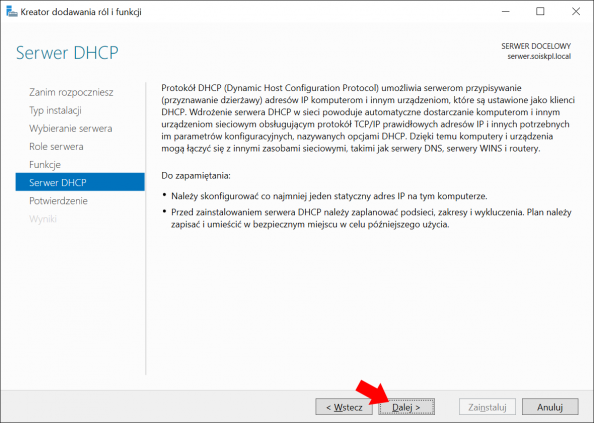 Okno informujące otym co tojest idoczego służy usługa DHCP wWindows Serwer 2016.