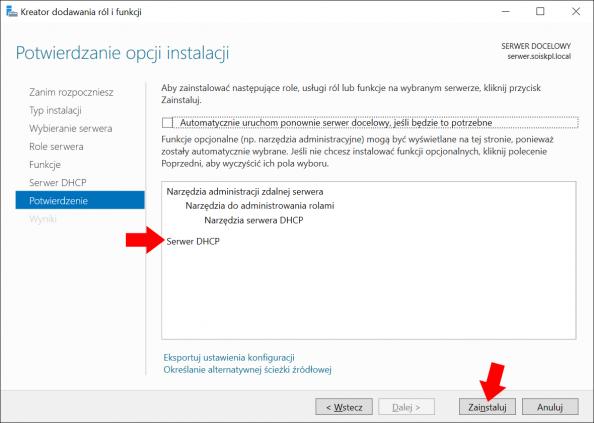 Instalacja usługi DHCP wsystemie Windows Serwer 2016.