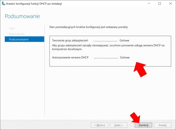 Kreator konfiguracji funkcji DHCP poinstalacji.