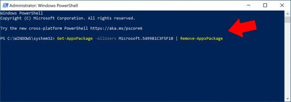 Odinstalowanie Cortany zsystemu Windows 10.