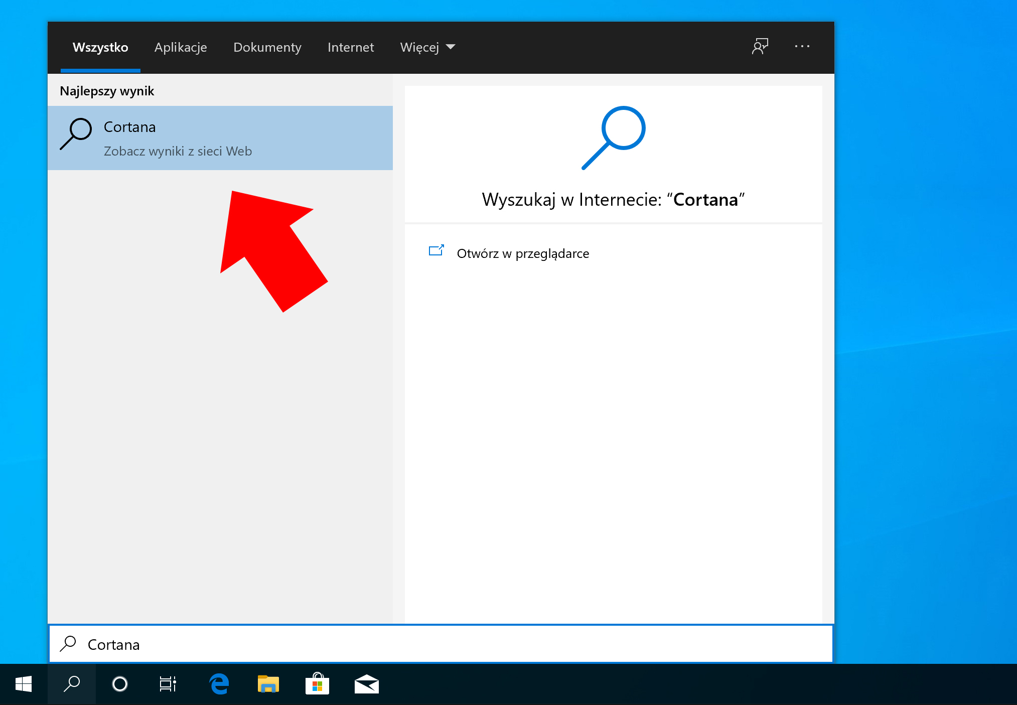 Widok odinstalowanej asystentki Cortana.