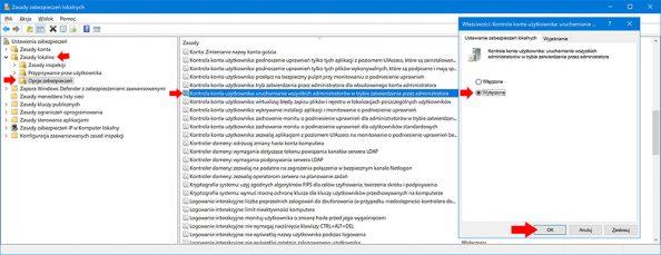 Kontrola konta użytkownika: uruchamianie wszystkich administratorów wtrybie zatwierdzania przezadministratora.