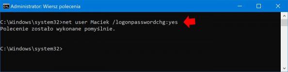 Wymuszenie zmiany hasła dokonta użytkownika.