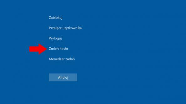 Widok opcji zmiany hasła użytkownika wsystemie Windows 10.