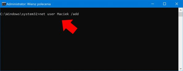 Dodawanie użytkownika zapomocą polecenia net user